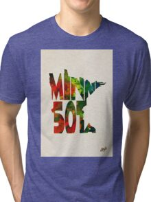 Minnesota Typographic Watercolor Map Tri-blend T-Shirt