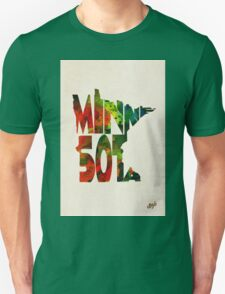 Minnesota Typographic Watercolor Map Unisex T-Shirt