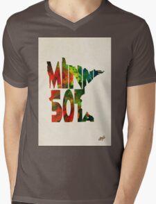 Minnesota Typographic Watercolor Map Mens V-Neck T-Shirt
