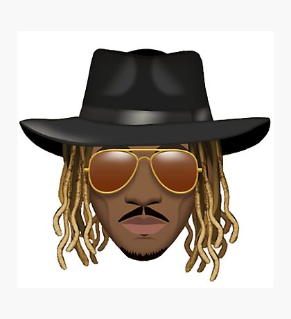Future Emoji wearing Hat and Sunglasses Photographic Print