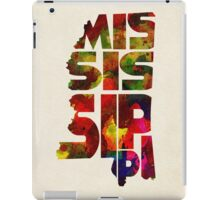 Mississippi Typographic Watercolor Map iPad Case/Skin