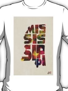 Mississippi Typographic Watercolor Map T-Shirt