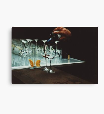 Drinks bar in party xpro cross processed c41 slide film analog photograph Canvas Print