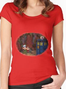 A TARDIS at Gravity Falls Women's Fitted Scoop T-Shirt