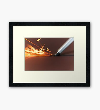 Macro photo of a steel tool on a grinder with sparks. Framed Print