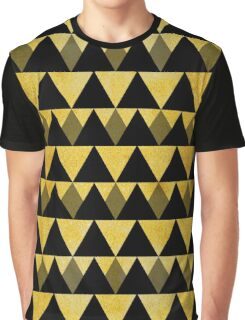 Gold glitter black triangles warm color Graphic T-Shirt