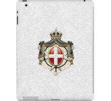 Sovereign Military Order of Malta Coat of Arms over White Leather iPad Case/Skin