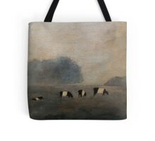 Black and White Striped Cows in Pasture Tote Bag