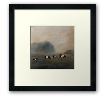 Black and White Striped Cows in Pasture Framed Print