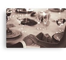 Bride and groom holding hands in marriage banquet black and white film silver gelatin fine art analog wedding photo Canvas Print