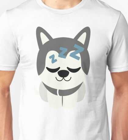 Siberian Husky Emoji Sleepy and ZZZ Look Unisex T-Shirt
