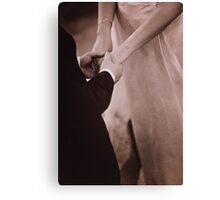 Bride and groom holding hands in marriage black and white film silver gelatin fine art analog wedding photo Canvas Print