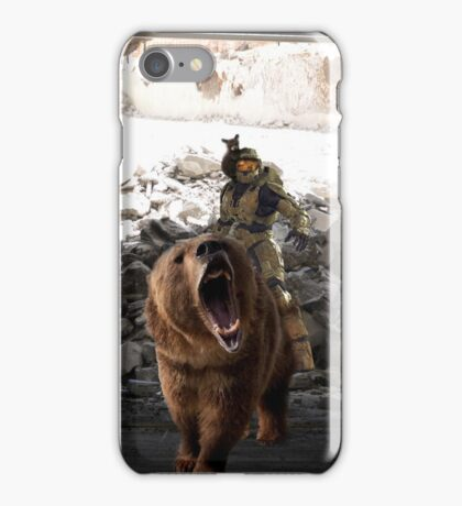 Master Chief Riding a bear while being rode by a baby bear  iPhone Case/Skin