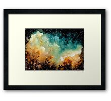 Watercolor Bright Yellow Nebula Framed Print