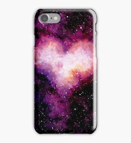 Watercolor Dark Sky and Heart Nebula iPhone Case/Skin