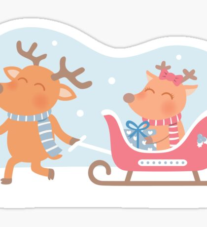 Cute Reindeer Couple Christmas Sleigh Sticker