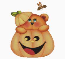 Halloween Bat and pumpkin and bear by Missryerye