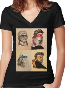 TMNT Tribute Women's Fitted V-Neck T-Shirt