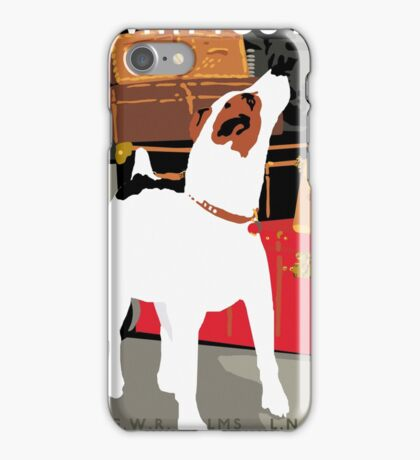 Vintage Travel Dog and Train Poster iPhone Case/Skin