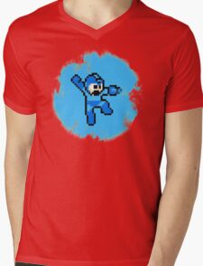 Mega Man Jumps and Shoots Mens V-Neck T-Shirt