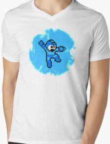 Mega Man Jumps and Shoots Mens V-Neck T-Shirt