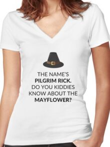 Pilgrim Rick asks about Mayflower - This is Us Women's Fitted V-Neck T-Shirt