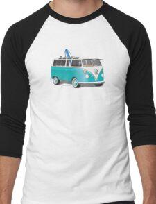Split VW Bus Teal with Surfboard Hippie Van Men's Baseball ¾ T-Shirt