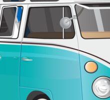 Split VW Bus Teal with Surfboard Hippie Van Sticker