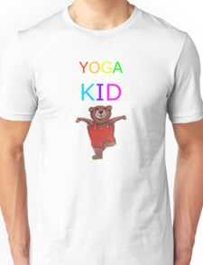 YOGA KID with Teddy Bear in Tree pose Unisex T-Shirt