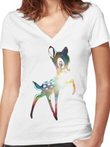 Space Bambi | Heart of Omega Nebula Women's Fitted V-Neck T-Shirt