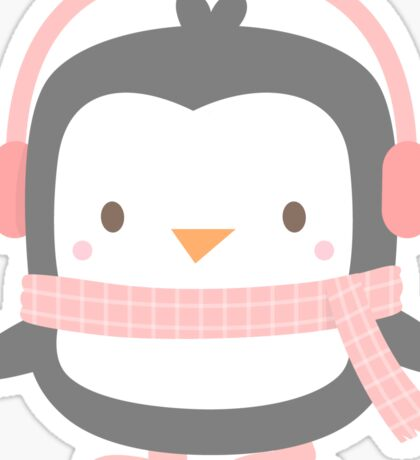 Cute Little Penguin with Pink Ear Muffs Sticker
