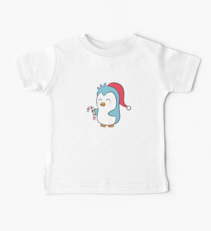 Cute Penguin with Christmas Hat and Candy Cane Baby Tee
