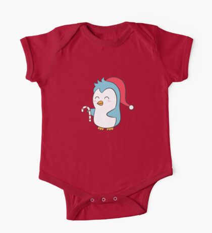 Cute Penguin with Christmas Hat and Candy Cane One Piece - Short Sleeve