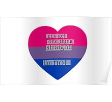 Let's get one thing straight, I'm not - bisexual heart flag Poster