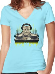 Cool Cat DJing by Basement Mastermind Women's Fitted V-Neck T-Shirt