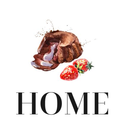 Chocolate cake and strawberry. Home Sticker