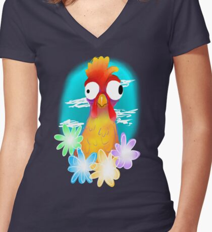 HeiHei Women's Fitted V-Neck T-Shirt