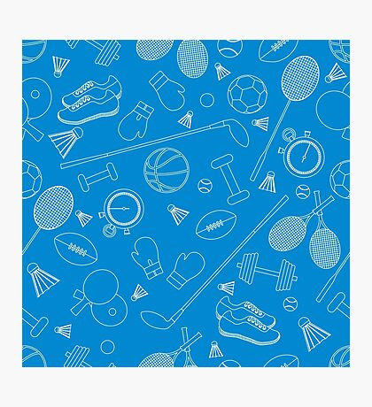 Seamless pattern on the sports theme. Vector illustration sports and fitness equipment.  Photographic Print