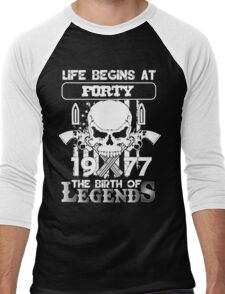 Life begins at forty 1977 The birth of legends Men's Baseball ¾ T-Shirt