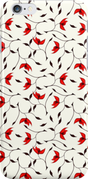 Delicate Red Flower Pattern Case by Boriana Giormova