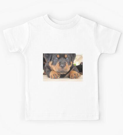 Cute Rottweiler Puppy With Blue Eyes Kids Tee