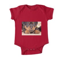 Cute Rottweiler Puppy With Blue Eyes One Piece - Short Sleeve