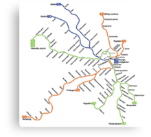 Geographically accurate subway map of Stockholm Canvas Print