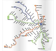 Geographically accurate subway map of Stockholm Poster