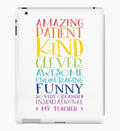 Teacher Gift - inspiring rainbow word stack typography thank you iPad Case/Skin