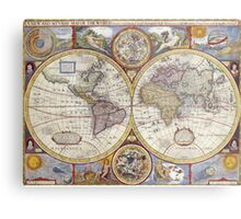 Antique Map of the World & Heavens Metal Print
