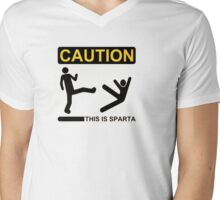 Smappy's Caution: This is Sparta Mens V-Neck T-Shirt