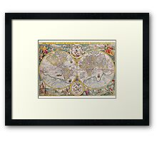 Antique Map of the World & Heavens2 Framed Print