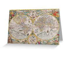Antique Map of the World & Heavens2 Greeting Card