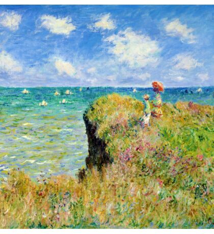 Claude Monet - Walk on the Cliff at Pourville Sticker